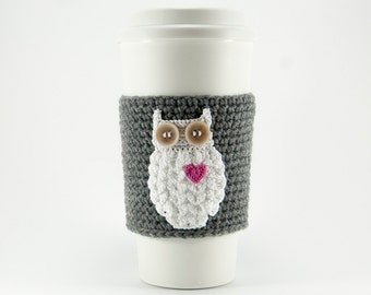 Crochet Owl Applique Pattern, DIY, Crochet cup sleeve, crochet coffee cozy, digital download