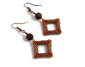 Brown Bead Earrings - Seed Bead Jewelry - Dangle Earrings - Geometric Earrings -  Crystal Jewelry - Diamond Shaped Earrings - Beaded Jewelry