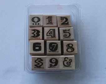 Funky Numbers Price Stamp Set of 12 Wooden Rubber Stamps by Stampin Up