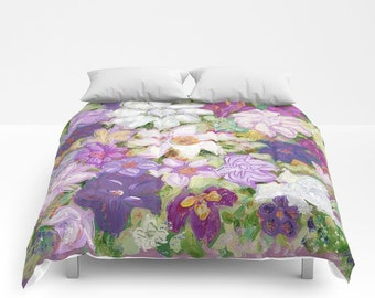 Spring FLORAL Duvet Cover or Comforter, White Purple Pink Violet Green Bedding Modern, Nature Flower, Bedspread Twin, Full, Bright, Colorful