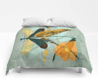 Vintage Post DRAGONFLY Duvet Cover or Comforter, Bedding, Bedspread, Bed Cover, Aqua Mint Blue, Black, Teal, Yellow, Grey Orange shabby chic