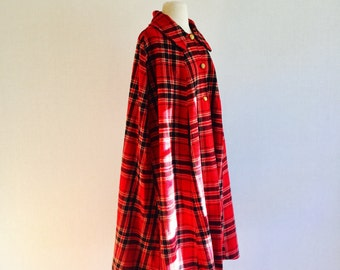 Vintage 60s wool knit cape / poncho - 1960s red black and white plaid cape- medium/large