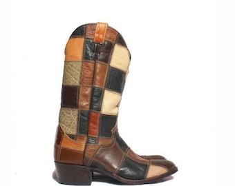 SALE 9 D | 1970's Vintage Larry Mahan Patchwork Leather Western Boots