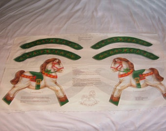 Christmas Soft Sculpture Rocking Horse Fabric Panel-Cranston Print Works-80's