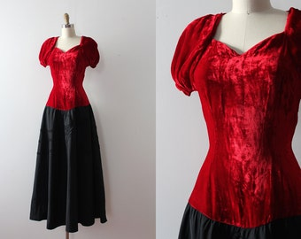 vintage 1930s gown // 30s 40s red velvet and black evening gown