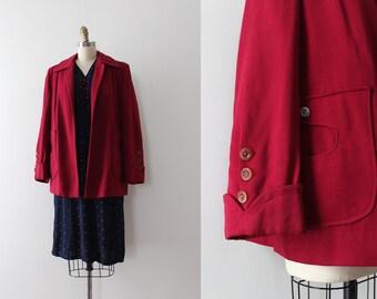 vintage 1940s coat // 40s short red pink swing coat