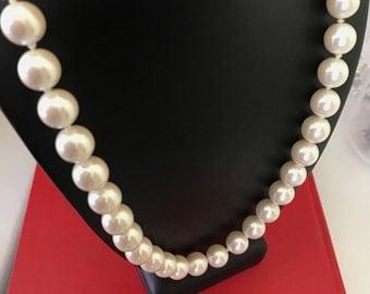 Vintage Classic Big Bead Decorative 12mm Faux Pearl  Necklace