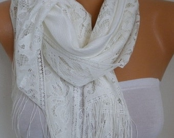 ON SALE --- Creamy White Tulle Scarf,Wedding Scarf, Cowl Bridesmaid Gift Bridal Accessories Gift Ideas for Her Women Fashion Accessories Sca