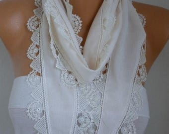 ON SALE --- Creamy White Pashmina Scarf,Soft,Bridal Scarf,Wedding Scarf,Necklace, Cowl Bridesmaid Gift For Her Women Fashion Accessories