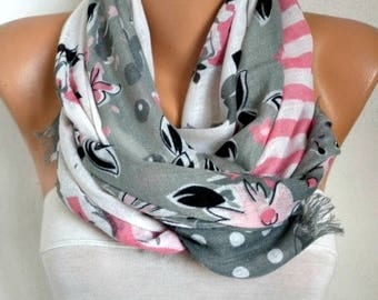 Gray & Pink Cotton Scarf,Bohemian, Cowl Shawl Cotton Gift Ideas For Her Women Fashion Accessories,Women Scarves