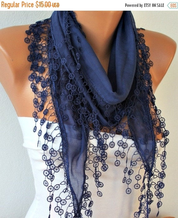 ON SALE --- Dark Blue Scarf, Cotton Scarf - Shawl - Cowl Scarf with Lace Edge - fatwoman