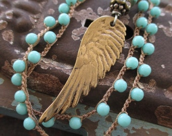 Angel wing turquoise blue crochet necklace - Angel - artisan bronze dainty blue glass layering necklace boho by slashKnots