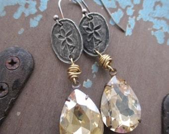 Spring crystal earrings - Flora  - pale gold teardrop simple flower dangle earrings boho by slashKnots