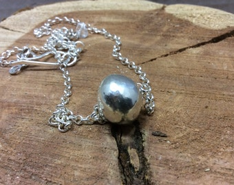 sterling hollow  bead  necklace