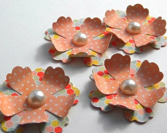 Scrapbook embellishments - flowers with pearl centers -flower embellishments - small paper flowers - card embellishments