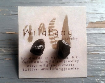 BLACK GARNET CRYSTAL Stud Earrings - January Birthstone