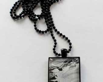 Handmade art nouveau drawing pendant necklace with black chain