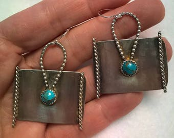 Handcrafted Sterling Silver Earrings with Natural Turquoise Cabochon
