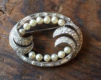 Vintage pearl and  pave stine brooch