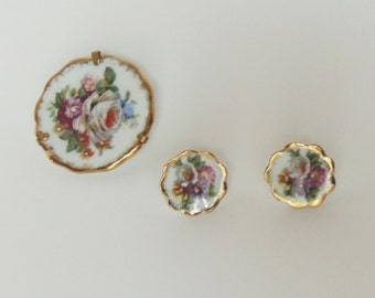 Vintage Limoges France Porcelain Brooch And Matching Earring Set Signed Limoges