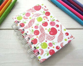 Mini Notebook Jotter with lined pages, inside pocket, coupon book, grocery list book, idea book, wire bound, apple, fruit