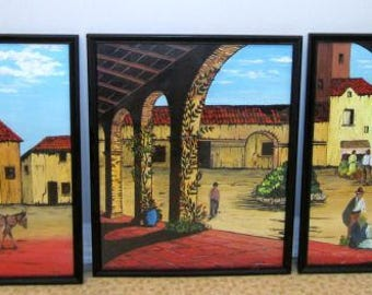3 Triptych Paintings Vintage 60s Mexican Art Hand Painted Framed Pictures Cafe Courtyard Old Mexico Wall Art Lot of 3 artist signed