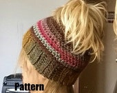 crochet messy bun pony tail hat beanie PDF pattern only