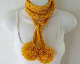 Crochet Pom Pom Skinny Scarf Pattern Only