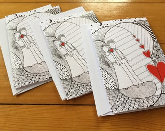 Enamorados, Greeting cards, Set of THREE FOLDED CARDS