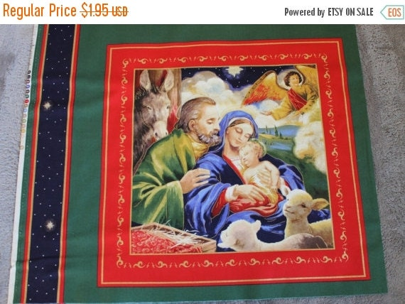 Holy Family Christmas Fabric Panel,Christian Christmas Fabric,100% Cotton Fabric,Quilt Fabric,Craft Fabric,Sunday School Class Gift
