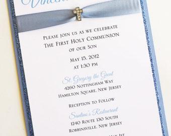 Boy Blue Baptism-Communion Invitation with Mini Sparkling Cross; Rhinestone Buckle; Rhinestone Cross Brooch