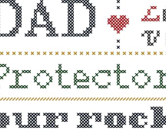 Dad Typography Cross Stitch Pattern/Father's Day Cross Stitch Pattern/For Dad Cross Stitch Pattern/Love Dad Cross Stitch Pattern/Digital PDF
