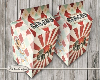 Vintage Circus Milk Box printable Favor Box paper crafting diy digital download instant download digital collage sheet - VDBXCI1544
