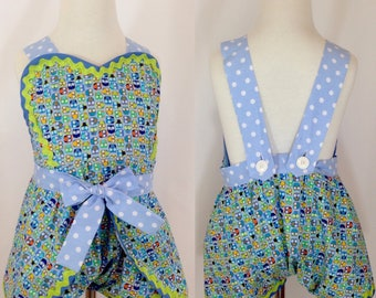 Girl's Wrap Around Romper, Baby Blue Owls, Vintage Style, Summer Sundress