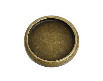 20 Bronze cabochon bezel setting components, fits 12mm inside bezel, fin0683