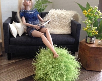 Exclusive! Handknitted Fuzzy Pouf Ottoman in Green for sixth scale or playscale diorama or dollhouse