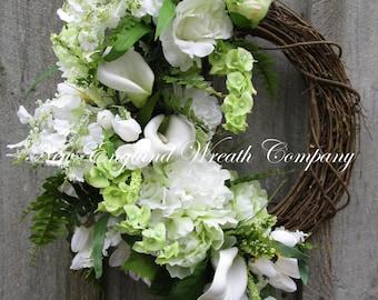 Spring Wreath, Easter Wreath, Wedding Wreath, Bells of Ireland, Elegant Floral Wreath, Designer Wreath, Spring Floral, St Pat's Day Wreath