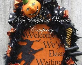 ON SALE Halloween Wreath, Fall Wreath, Whimsical Fall Wreath, Trick or Treat Decor, Pumpkin Wreath, Halloween Party Decor