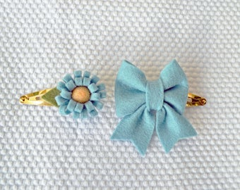 Hair clips with felt bow in dusty blue / Wool Felt / Birthday gift hairclip set / Baby Girl Accessories