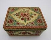 Vintage Holland Tin Box Embossed Floral Litho Cottage Decor