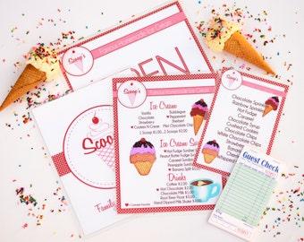 Childs Pretend Play Ice Cream Shop Menu Set