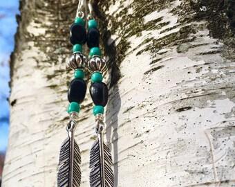 Turquoise & Black Agate Silver Feather Boho Dangle Earrings
