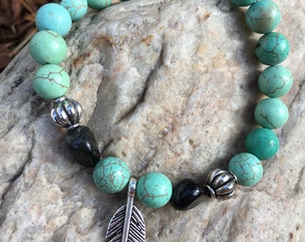 Turquouse And Black Agate Beaded Bracelet With Silver Beads & Silver Feather Charm