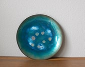 Mid Century Modern enamel on copper turquoise dish plate tray  MLM signed
