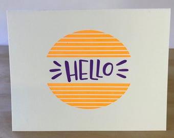 Hello Letterpress Greeting Card
