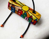Pleasantville - ooak clay pendant necklace 3d. Colorful sunny town