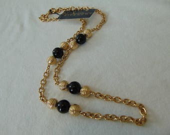 vintage givenchy gold black bead necklace signed nwt mint