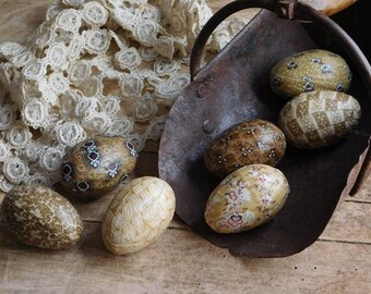 Yellow Mustard Easter Eggs Bowl Fillers, Spring Decor, Fabric Eggs