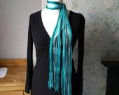 Ladies vintage skinny scarf  hippie accessories turquoise blue fringing womens bohemian hippy  boho scarves  Dolly Topsy Etsy