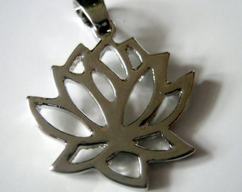One Silver Tone Lotus Pendant, 30x23mm, Jewelry Supplies